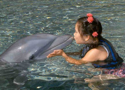 Sacha kisses dolphin